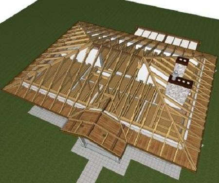 Вид четырехскатной крыши