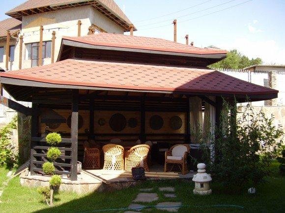 Крыша дачного домика в японском стиле