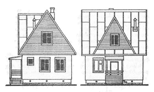 Дом с трёхфронтонной крышей в двух проекциях