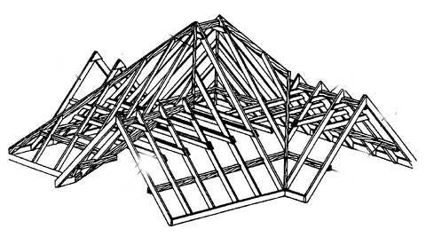 Стропильная система трёхфронтонной крыши