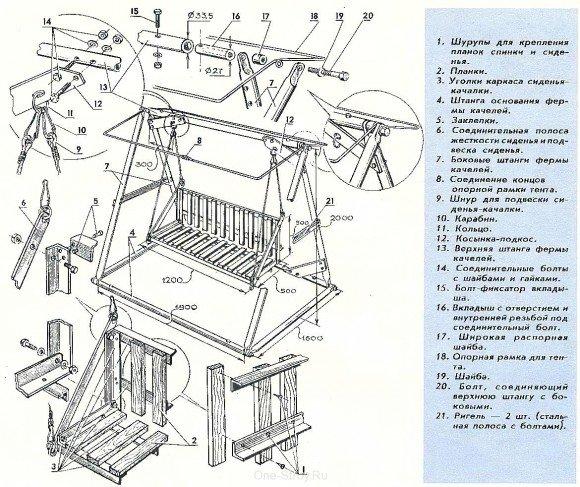 Схема качели с крышей