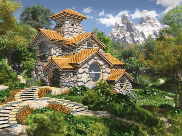 Дом из камня с многоуровневой крышей