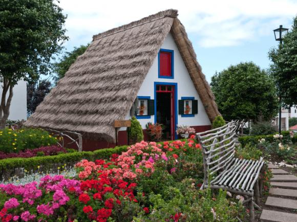 Дом с крышей из сухой травы