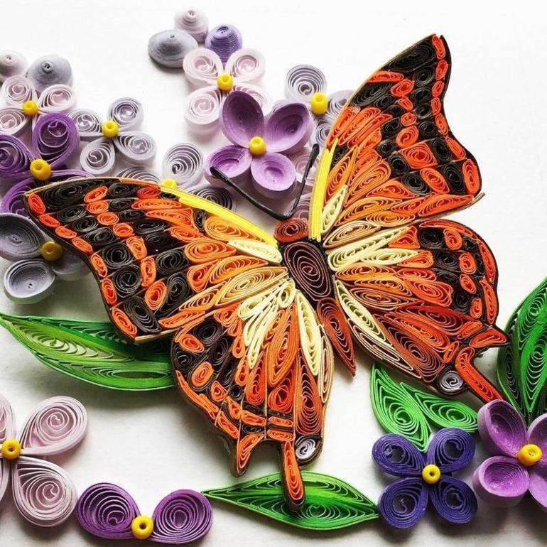 Открытки с бабочками квиллинг, букет цветов картинки