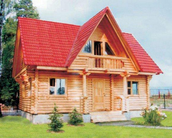 дом с красно-коричневой крышей