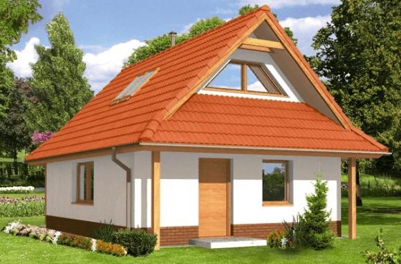 Полувальмовая крыша с треугольными фронтонами