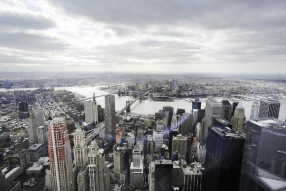 Вид со смотровой площадки в башне свободы Всемирного торгового центра, Нью-Йорк
