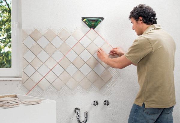 Диагональная раскладка керамической плитки