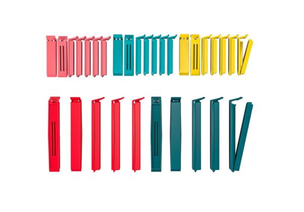 БЕВАРА Зажимы для пакетов, 30 штук, разные цвета различные размеры - 99 руб