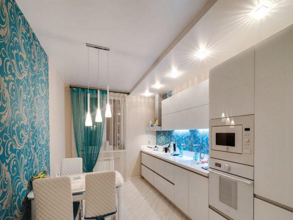 Натяжной потолок на кухне - 70 фото-идей