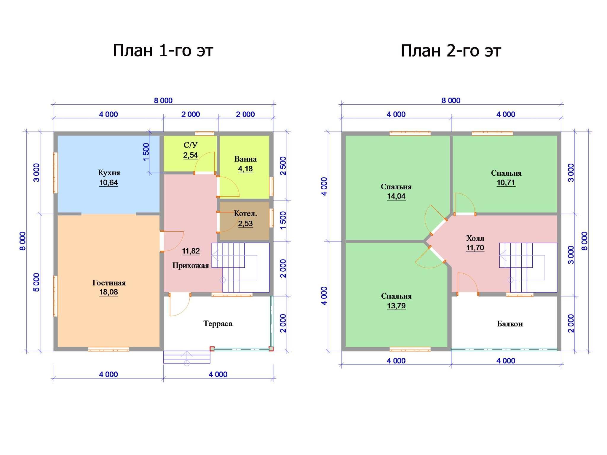 Двухэтажные Дома 8 на 8
