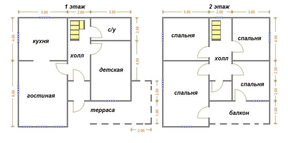 Двухэтажный дом из бруса 10х10 проект, цена